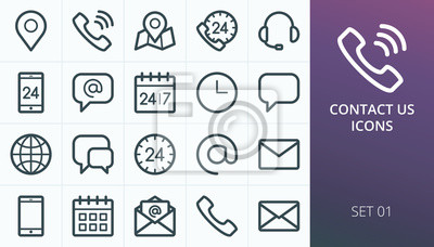 Bild Contact us icons set. Set of business contact phone call, map maker, open email envelope, calendar, call us, call center, support, gps map location vector line icons