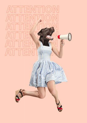 Bild Contemporary art collage or portrait of surprised dog headed woman. Modern style pop zine culture concept. Woman screaming with a megaphone. Business processes, message, speaker, communication