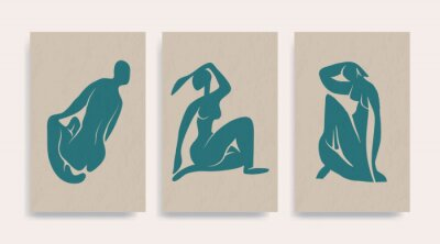 Bild Contemporary Henri Matisse abstract vector poster. Woman nude figure sitting silhouette line art Matisse painting. Pastel reproduction of painting. Geometric shape collage.