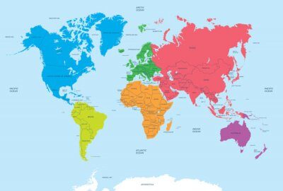 Bild Continents of the World and political Map