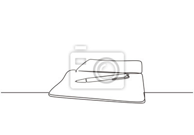 Bild Continuous line drawing of book and pen one lineart hand drawn isolated on white background. Education supplies back to school theme minimalist design.