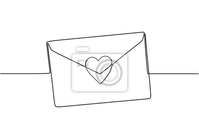 Bild Continuous line drawing of Love letter with heart. Vector romantic mail for cards and invitation good for Valentine's day theme.