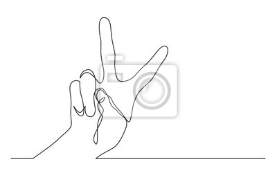 Bild continuous line drawing of one hand showing victory sign