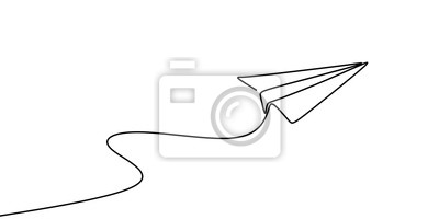 Bild Continuous line drawing of paper plane vector illustration