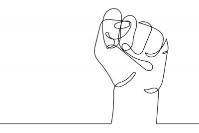 Bild Continuous line drawing of strong fist raised up. Human arm with clenched fingers, one line drawing vector illustration. Concept of protest, revolution, freedom, equality, fight for human rights.