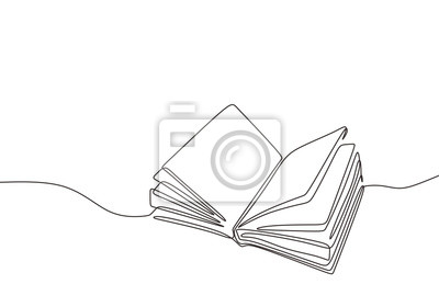 Bild Continuous one line drawing open book with flying pages. Vector illustration education supplies back to school theme.