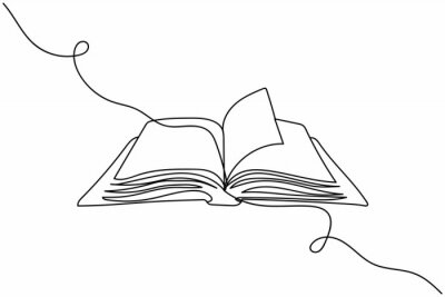 Bild Continuous one line of open book in silhouette. Linear stylized.Minimalist.