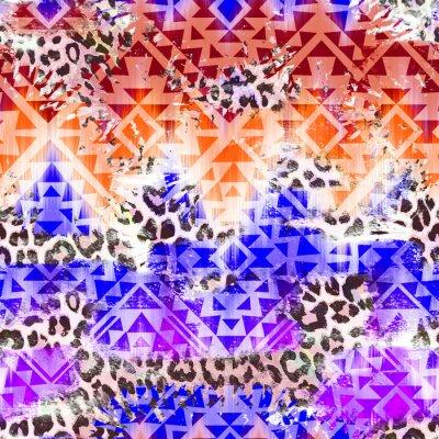 Bild Cool Aztec Geometrische Steigung über Leo Muster Nahtlose Hintergrund