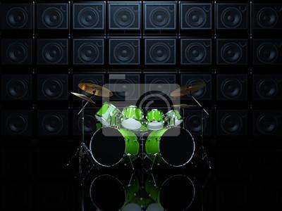 Bild Coole Drum Set Vor Dem Hintergrund Der Grünen Wand Der Gitarre