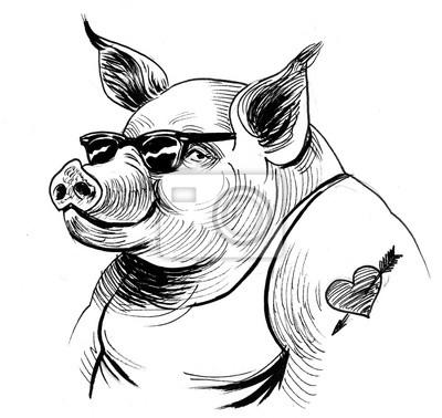 Cooles Schwein Mit Sonnenbrille Schwarz Weiss Tintenillustration