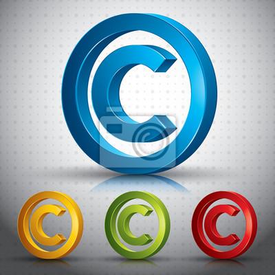 Copyright symbol 3D-Vektor-Zeichen.