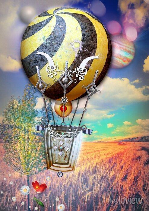 Bild Corn fied und Baum mit steampunk Heißluftballon