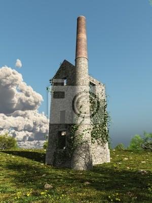Cornish Zinn oder Copper Mine Engine House mit Efeu