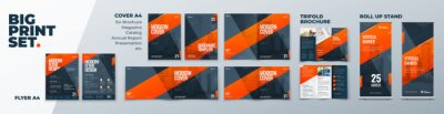 Bild Corporate Identity Print Template Set of Brochure cover, flyer, tri fold, report, catalog, roll up banner. Branding design. Business stationery background design collection.