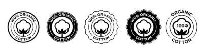 Bild Cotton organic 100 icons, cotton flower logo for natural eco and bio vector stamps on textile fabrics and skincare cosmetics certificate