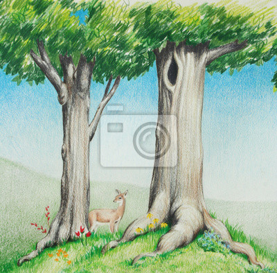 Bild countryside landscape or woodlands, hand drawn sketch of cute deer in big tall trees with green grass and flowers in spring or summer nature or outdoor landscape, concept is happy peaceful countryside