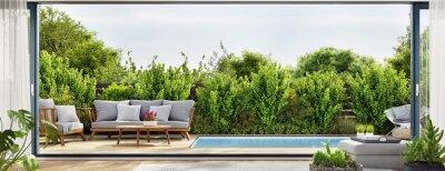 Bild Cozy patio area with garden furniture sliding doors and swimming pool