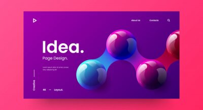 Bild Creative horizontal website screen part for responsive web design project development. 3D colorful balls geometric banner layout mock up. Corporate landing page block vector illustration template.