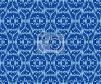 Creative patterned fabric indigo dyed ikat seamless pattern.