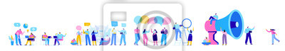 Bild Creative team characters flat vector horizontal banner. Discussion people. Office workers life. Team thinking and brainstorming.  Flat vector illustration
