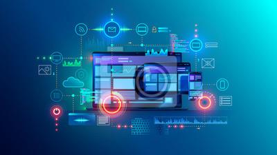 Bild Cross platform website, app design development on laptop, phone, tablet. Technology of create software, code of mobile applications. Programming responsive layout of graphic interface, ui, ux concept.