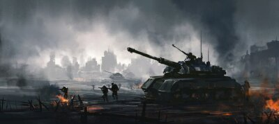 Bild Cruel war scenes, digital painting.