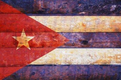 Bild Cuba Flag in alten Holz.
