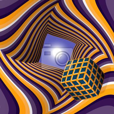 Cube fliegen in die Sonne durch einen Tunnel. Zusammenfassung Vektor-Illustration mit optischer Täuschung der Bewegung.