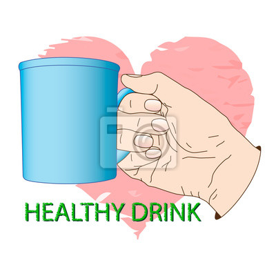 Bild Cup in hand. Poster about healthy drink. Vector illustration, icon, element for design or a fashion print.
