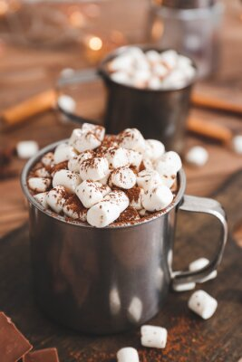 Bild Cup of hot chocolate with marshmallows on table