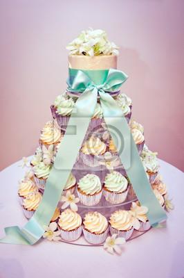 Cupcake Hochzeitstorte Und Bander Leinwandbilder Bilder