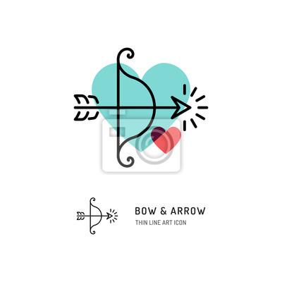Cupid Bogen Und Pfeil Bogenschiessen Linie Symbole Hochzeit Und