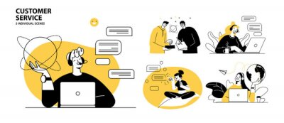 Bild Customer service concept illustrations. Collection of individual scenes for technical support assistant, customer and operator vector. Customer service, hotline operator advises customer, online