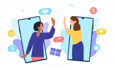 Bild Customers sharing references and earning money. Mobile phones users chatting, exchanging gifts. Flat cartoon vector illustration for refer a friend, referrals, loyalty program, marketing concept
