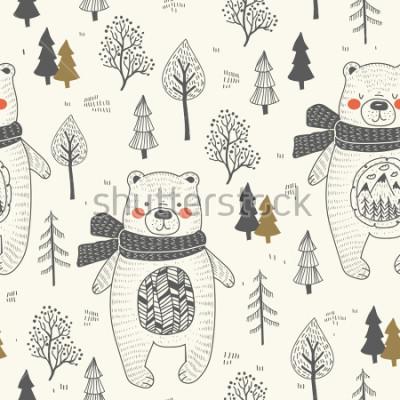 Bild cute bear hand drawn forest seamless pattern. Doodle cartoon anymal.