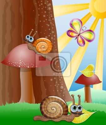 Cute Bild mit Schnecken. Abbildung 10 Version