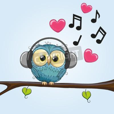 Bild Cute Cartoon Eule mit Kopfhörern