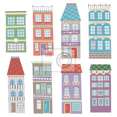 Bild Cute Cartoon Vektor Set Von Hand Gezeichneten Häuser Auf Weißem  Hintergrund