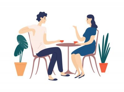 Bild Cute couple sitting at table, drinking tea or coffee and talking. Young funny man and woman at cafe on date. Dialog or conversation between romantic partners. Flat cartoon vector illustration.