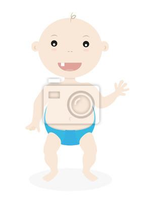 Bild Cute Little Baby Boy Adorable Zeichentrickfilm Kinder Vektor Illustration