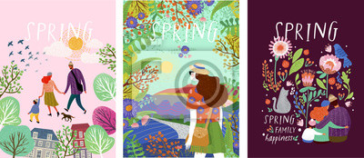 Bild cute posters of spring time, vector drawn illustrations of a happy family in nature, girls against a landscape and a family with a pet cat surrounded by floral patterns
