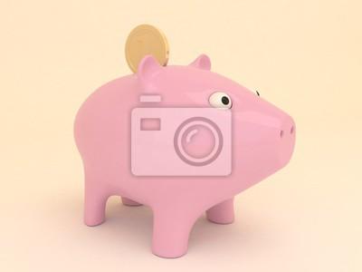 Bild Cute rosa Sparschwein mit goldenen Münze