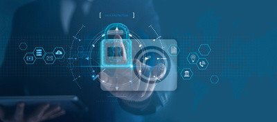 Bild Cyber security network. Padlock icon and internet technology networking. Businessman protecting data personal information on tablet and virtual interface. Data protection privacy concept. GDPR. EU.