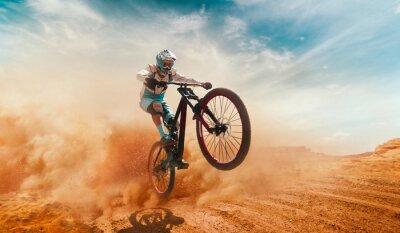 Bild Cyclist riding a bicycle. Downhill.
