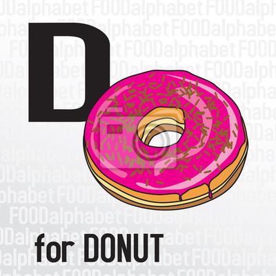 D für Donut, das Essen Alphabet