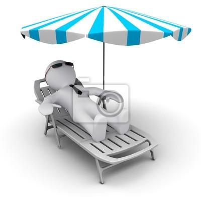 # D Mann auf Urlaub unter Sonnenschirm