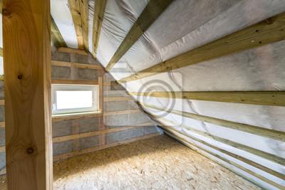 Dachboden Mit Dampfsperre Und Fenster Leinwandbilder Bilder