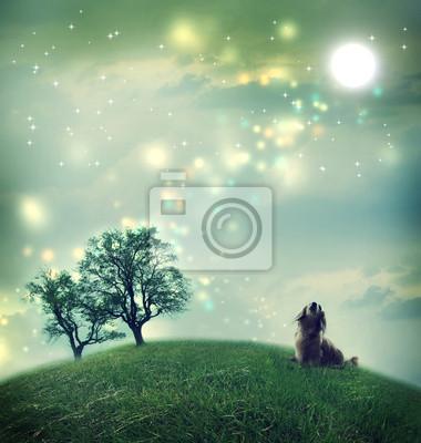 Dackel Hund in einer zauberhaften Landschaft