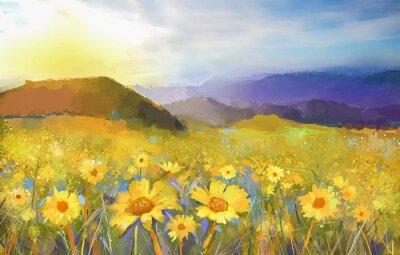 Bild Daisy flower blossom.Oil Gemälde einer ländlichen Sonnenuntergang