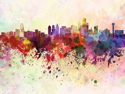 Bild Dallas skyline in watercolor background